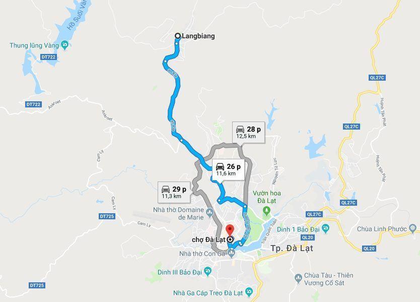 Xem hướng dẫn Google Map để biết đường đến Khu du lịch LangBiang - Dichvuhay.vn